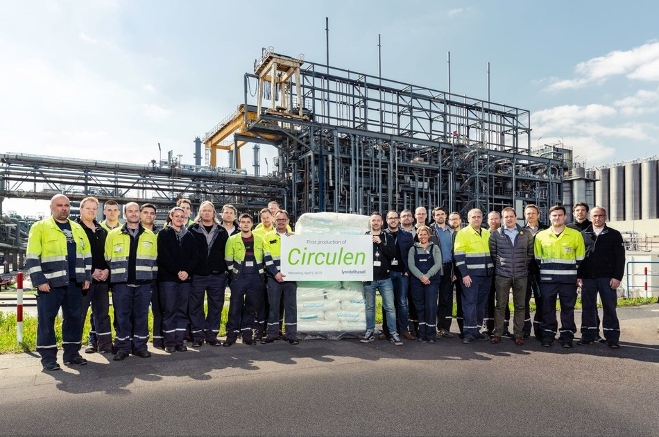 LyondellBasell production team in Wesseling, Germany shows off first batch of bio-polymer made from renewable materials