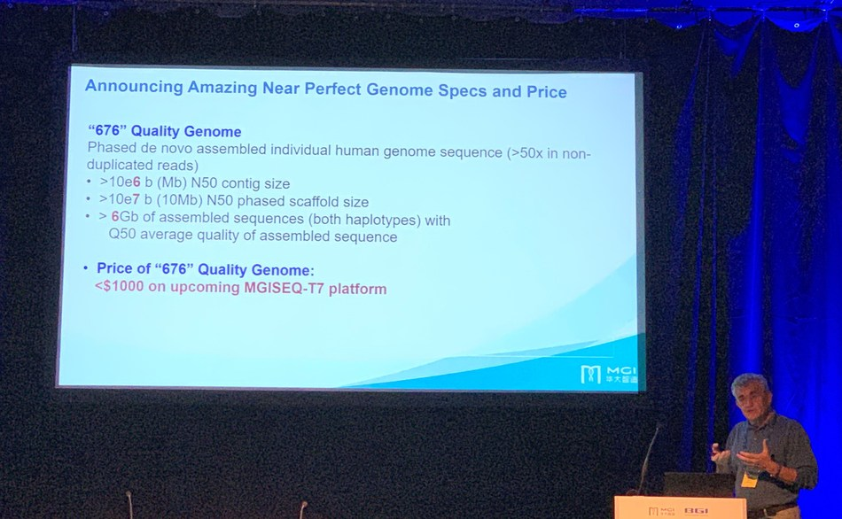 Rade Drmanac, MGI Chief Scientific Officer, presenting at the European Society of Human Genetics 2019