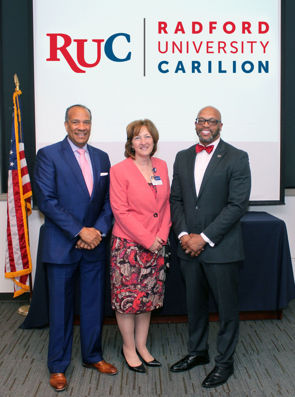 Photo, L_R: Jefferson College of Health Sciences President Nathaniel L. Bishop, Carilion Executive Vice President and Chief Administrative Officer Jeanne S. Armentrout, Radford University President Brian O. Hemphill