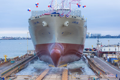Matson's newest vessel, Lurline, being launched into San Diego Bay on Saturday, June, 15, 2019.