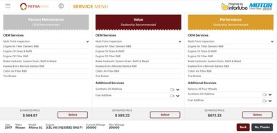 PetraSync's Digital Service Menu features both OEM and dealership recommended services, including pricing for ease of customer presentation.
