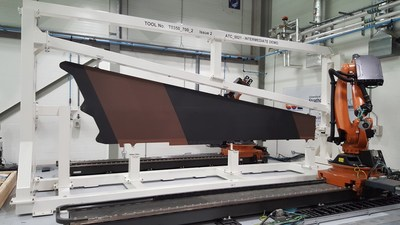 Seven-Meter Lower Wing Cover Demonstrator During Inspection at the Advanced Forming Research Centre, Strathclyde, U.K.