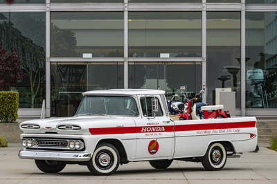 American Honda is celebrating 60 years of U.S. operations this month and to help illuminate its early days in Southern California, the company restored a 1961 Chevy Apache 10 pickup, just like those it used in the early 1960's to deliver motorcycles to dealers.