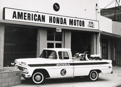 This photograph, taken in front of American Honda's first U.S. office in Los Angeles, shows one of a small fleet of Chevy pickups used by the company in the early 1960's to deliver motorcycles to its fledgling dealer network in Southern California. American Honda just restored a pickup to authentically match the one in this photo as part of a celebration of its 60th anniversary of U.S. operations.