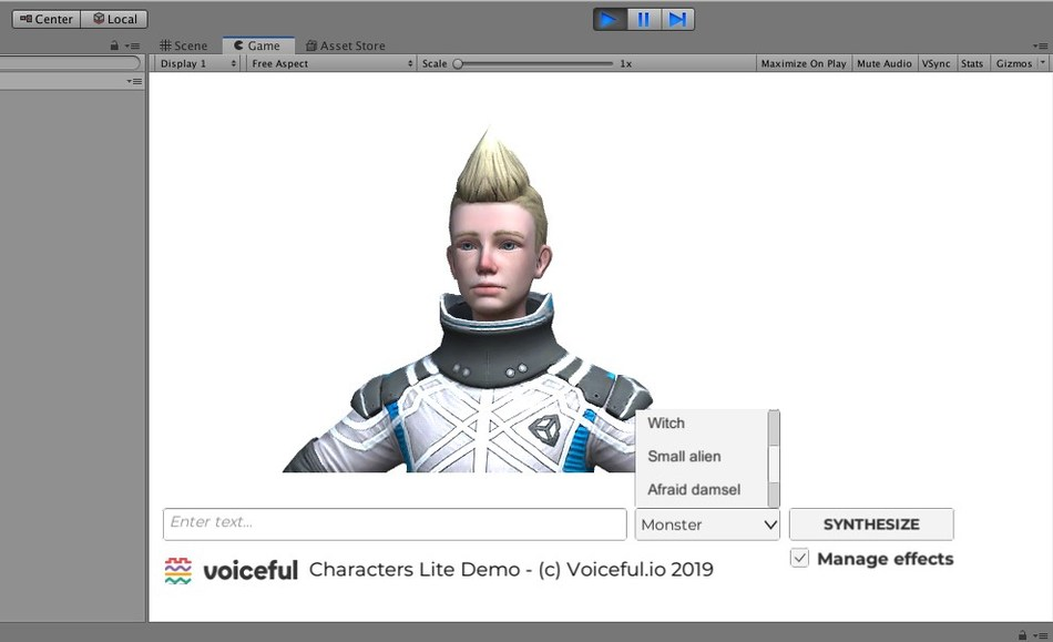 Voiceful Characters provides Unity packages with a plug-in and sample scenes that can be imported into the project without fuss and get started quickly. The tool offers built-in factory voice presets and the possibility to design your own.