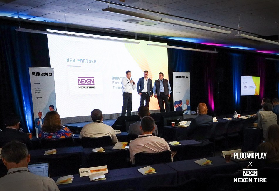 Nexen Tire announces their partnership at Plug and Play's Summer Summit 2019. From left to right: Don Lee (Executive Director, Nexen Tire America Technical Center), Johannes Rott (Director, German Corporate Partnerships, Plug and Play), Saeed Amidi (CEO & Founder, Plug and Play)