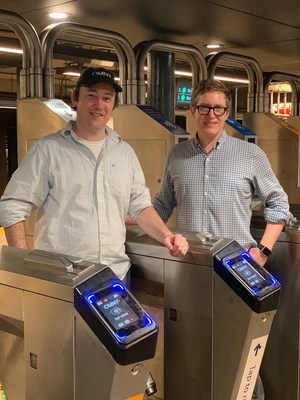 Reflexions Partners Alex Smith and Daniel Leslie with OMNY turnstile readers
