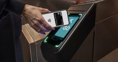 OMNY card reader at turnstile