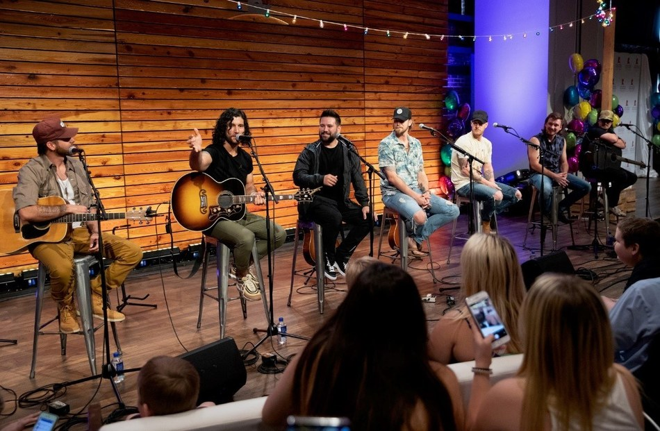 Pictured L-R: Canaan Smith, Dan + Shay's Dan Smyers and Shay Mooney, Florida Georgia Line's Brian Kelley and Tyler Hubbard, Morgan Wallen, and HARDY perform at a surprise concert for patient families at St. Jude Children's Research Hospital, Saturday, June 15, 2019.