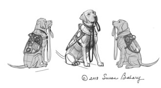 Artist Susan Bahary's rendering of the monument honoring President Bush's service dog, Sully, which will be placed at the Bush Library and Museum in Texas when completed.