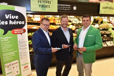 De gauche à droite : Alain Brisebois, conseiller stratégique chez FoodHero, Carl Pichette, vice-président marketing de Sobeys Inc. et Jonathan Defoy, fondateur de FoodHero. Crédit photo : Denis Bernier. (Groupe CNW/IGA)