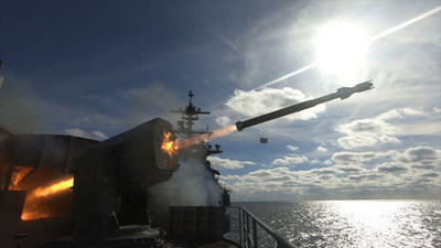 Raytheon's RAM™ missile launches from an aircraft carrier during testing. (Photo: U.S. Navy)