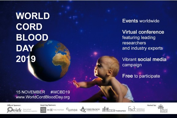 Register now for World Cord Blood Day 2019: Free online conference with cord blood transplant doctors and researchers as well as live local events. Celebrate over 30 years of success in cord blood transplants!