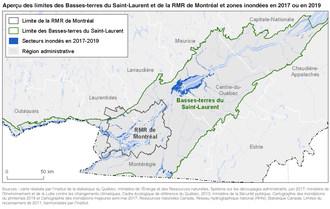 Aperçu des limites des Basses-terres du Saint-Laurent et de la RMR de Montréal et zones inondées en 2017 ou en 2019 (Groupe CNW/Institut de la statistique du Québec)