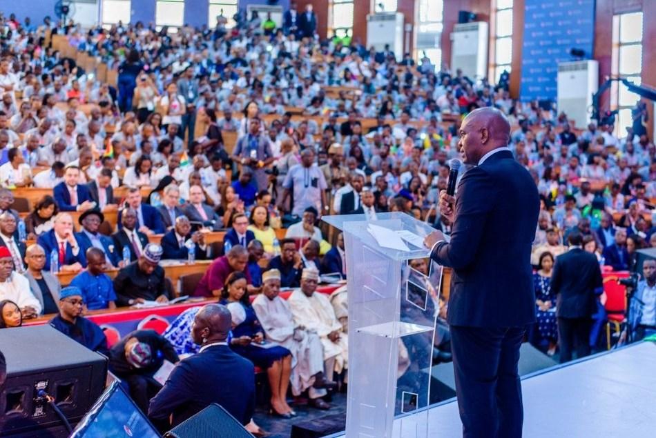 Tony O. Elumelu, Founder of the Tony Elumelu Foundation addressing the largest gatheringof African entrepreneurs at a previous TEF Entrepreneurship Forum