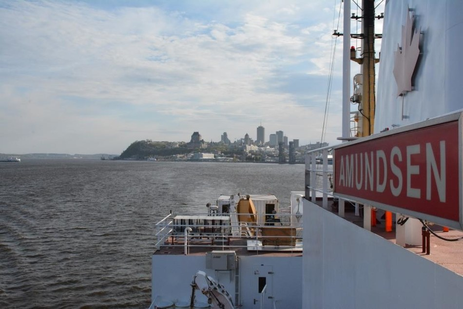 View from the deck of the CCGS Amundsen as it departs Quebec City for its annual science programming on May 30. (CNW Group/Fisheries and Oceans Central & Arctic Region)