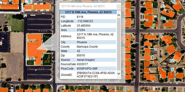 The National Building Map footprints include detailed building outlines, unique ids, coordinates, street addresses and source metadata for millions of structures.