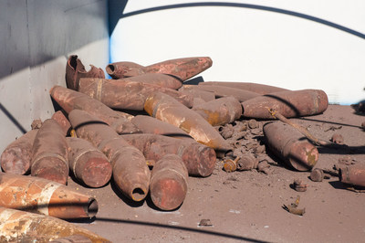 Scrap metal bodies from the first munitions destroyed at the Blue Grass Chemical-Agent Destruction Pilot Plant are ready to be recycled.