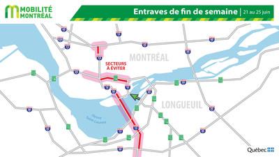 Carte générale des entraves, fin de semaine du 21 juin (Groupe CNW/Ministère des Transports)