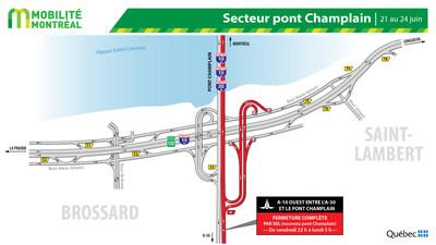 Pont Champlain, secteur 10-132, FDS du 21 juin (Groupe CNW/Ministère des Transports)