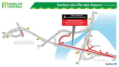 Pont Champlain, secteur Île des Sœurs, FDS du 21 juin (Groupe CNW/Ministère des Transports)