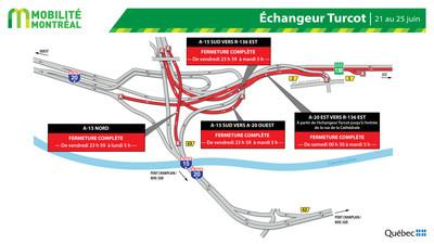 Bretelles échangeur Turcot, FDS 21 juin (Groupe CNW/Ministère des Transports)
