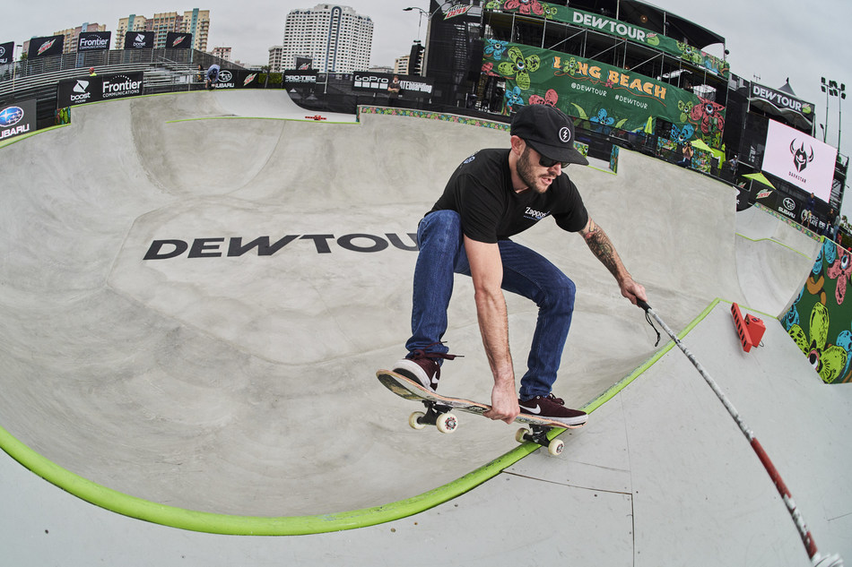 Blind skateboarder Justin Bishop demonstrates how he uses the Sonic Localizer developed by Not Impossible Labs and Zappos, which helps him navigate the world through sound.