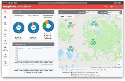 Planet Adaptrum Network Management System - Intuitive dashboard simplifies the management of TV White Space networks of any size