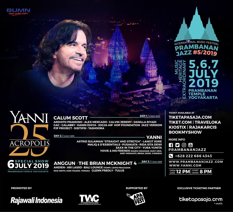 Maestro YANNI will perform at Prambanan Temple, a masterpiece of Hindu culture of the 9th century on July 6th 2019.