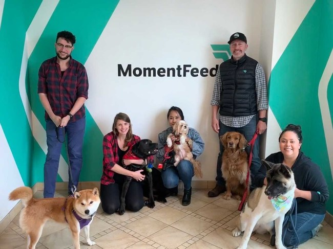 Pictured (L to R): Raja Radwan and Clint, Katie Goines and Milo, Denice Cabrera and Peanut, Ed Shaughnessy and Avi, and Lily Klein and Ruby