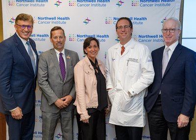 At the opening of Northwell Health Cancer Institute's Pancreatic Cancer Center, l-r: Richard Barakat, MD, David Tuveson, MD, PhD, CSHL, Toni Fabric, native Long Islander who received pancreatic cancer surgery at Northwell, Matthew Weiss, MD, and William Nealon, MD.