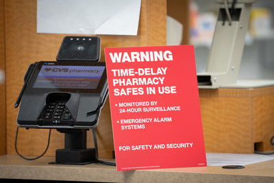 CVS Pharmacy locations now feature signs notifying customers about the chain's time-delay safe technology to help deter pharmacy robberies and diversion of controlled substance narcotic medications.