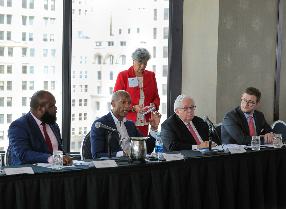 (from left to right): Ja'Ron Smith, Deputy Assistant to the President, The White House; Henry Childs II, National Director for the Minority Business Development Agency; Tom Gilman, CFO and Assistant Secretary of Administration for the U.S. Department of Commerce;  and Kevin Preskenis, Chief of Staff, Office of the Assistant Secretary and CFO, U.S. Department of Commerce