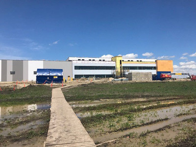 Aurora Polaris, a 300,000 square foot Centre of Excellence for value-add products, packaging and international logistics at the Edmonton International Airport. Polaris is anticipated to be fully operational by the end of 2019. Initial operations will commence in October 2019. (CNW Group/Aurora Cannabis Inc.)