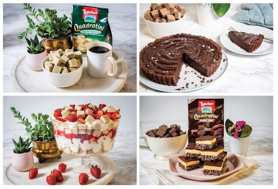 Clockwise from top left: Loacker's Matcha-Green Tea Quadratini, Chocolate Torte, Nanaimo Bars, Strawberry Shortcake Trifle (CNW Group/Loacker Canada)