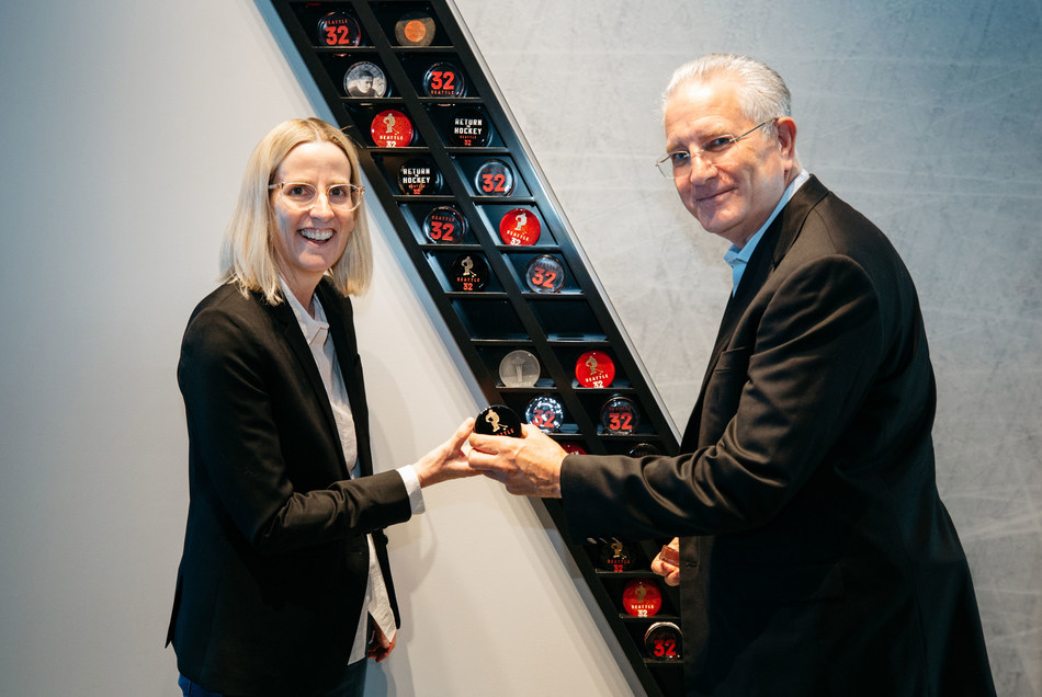 NHL Seattle CEO Tod Leiweke and Symetra CEO Margaret Meister touring the NHL Seattle Preview Center