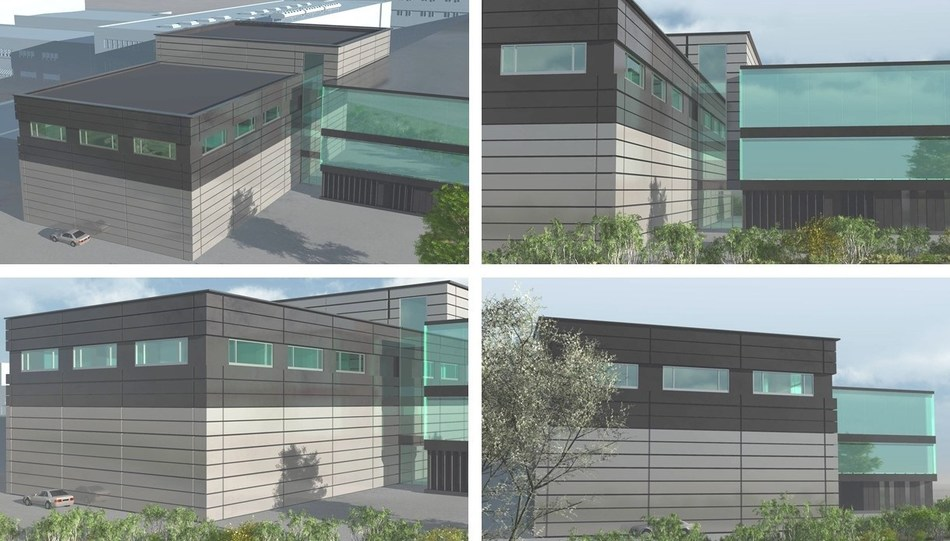 3D rendering of the new building at EV Group's headquarters adjacent to the existing reception and office building.