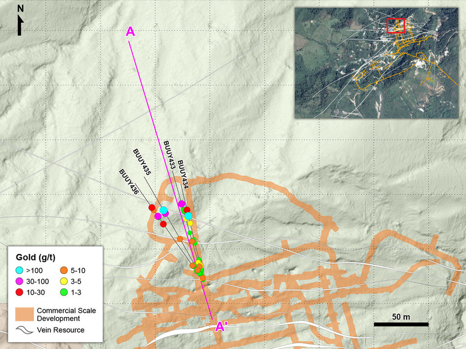 Figure 1 – Plan View of Drilling Targeting the Centena Vein in the Yaraguá System (CNW Group/Continental Gold Inc.)
