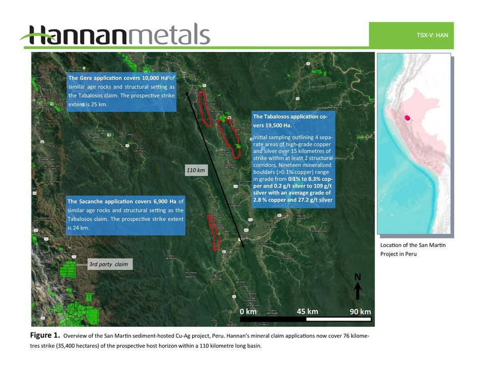 Figure 1. Overview of the San Martin sediment-hosted Cu-Ag project, Peru. Hannan's mineral claim applications now cover 76 kilometres strike (35,400 hectares) of the prospective host horizon within a 110 kilometre long basin. (CNW Group/Hannan Metals Ltd.)