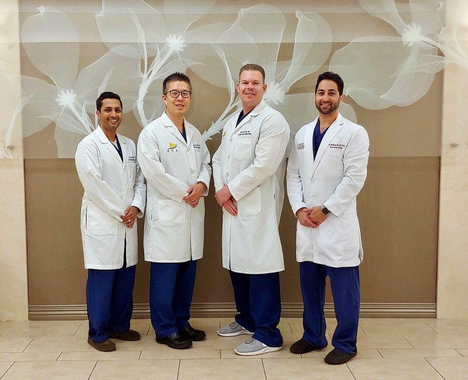 MemorialCare Saddleback Medical Center cardiologists (from left) Ashish Shah, D.O.; Cheng-Han Chen, M.D., Ph.D.; Paul Drury, M.D., and John Bahadorani, M.D are successfully implanting a permanent device to reduce stroke risk in patients with non-valvular atrial fibrillation.