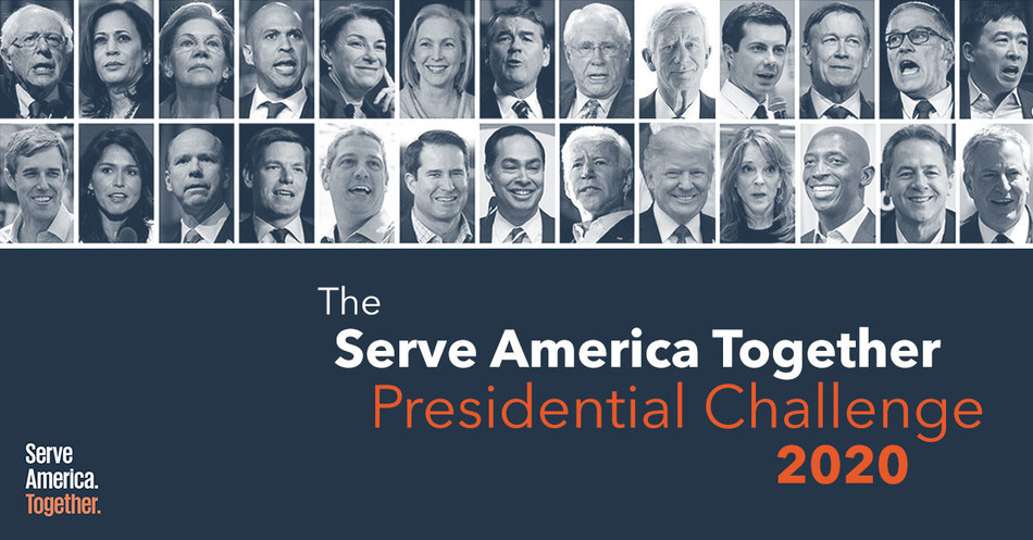 Serve America Together campaign kicks off and challenges all 2020 presidential candidates to commit to make national service a priority in their first 100 days in office and to release bold plans to expand and transform national service in America.