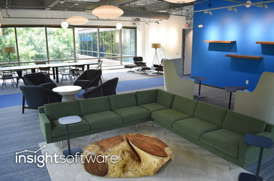 Employee library at insightsoftware's new worldwide headquarters at the Forum office complex in North Raleigh
