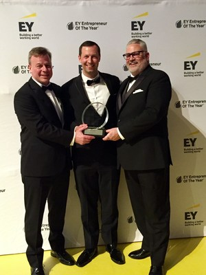 Jeff Mucha, Rich Mahler and Rick Cline (L-R) celebrate the Entrepreneur Of The Year® 2019 Award at the EY gala event in Philadelphia.