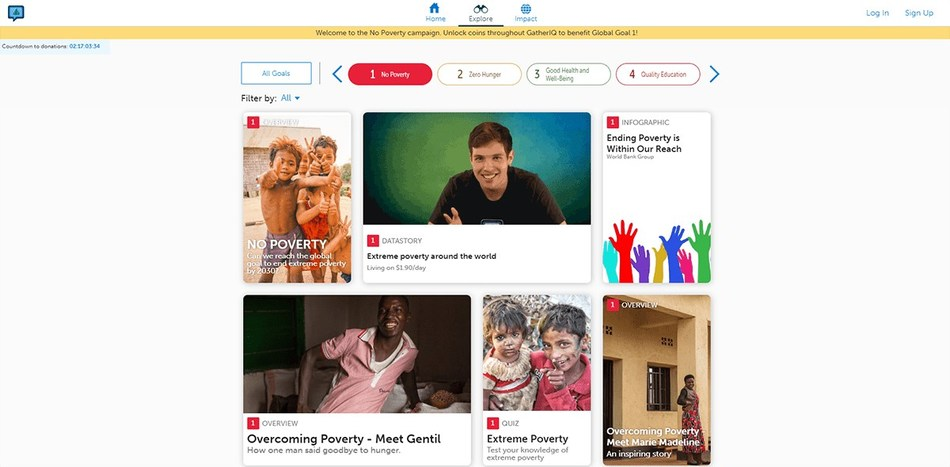 By exploring and interacting with the resources in GatherIQ, students can unlock micro-donations to support the UN Sustainable Development Goal of No Poverty.