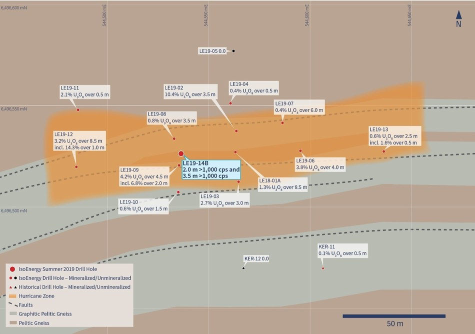 Figure 2 –Drill Hole LE19-14B Location Map (CNW Group/IsoEnergy Ltd.)