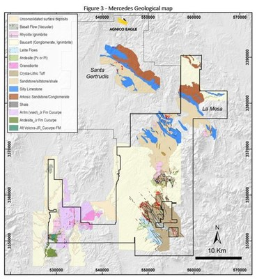 Figure 3 - Mercedes Geological map (CNW Group/Premier Gold Mines Limited)