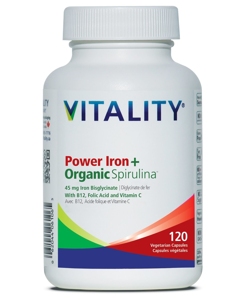 Power Iron + Organic Spirulina 120 vcap now available in Canada. Learn more at www.vitality.ca (CNW Group/Vitality Products Inc.)