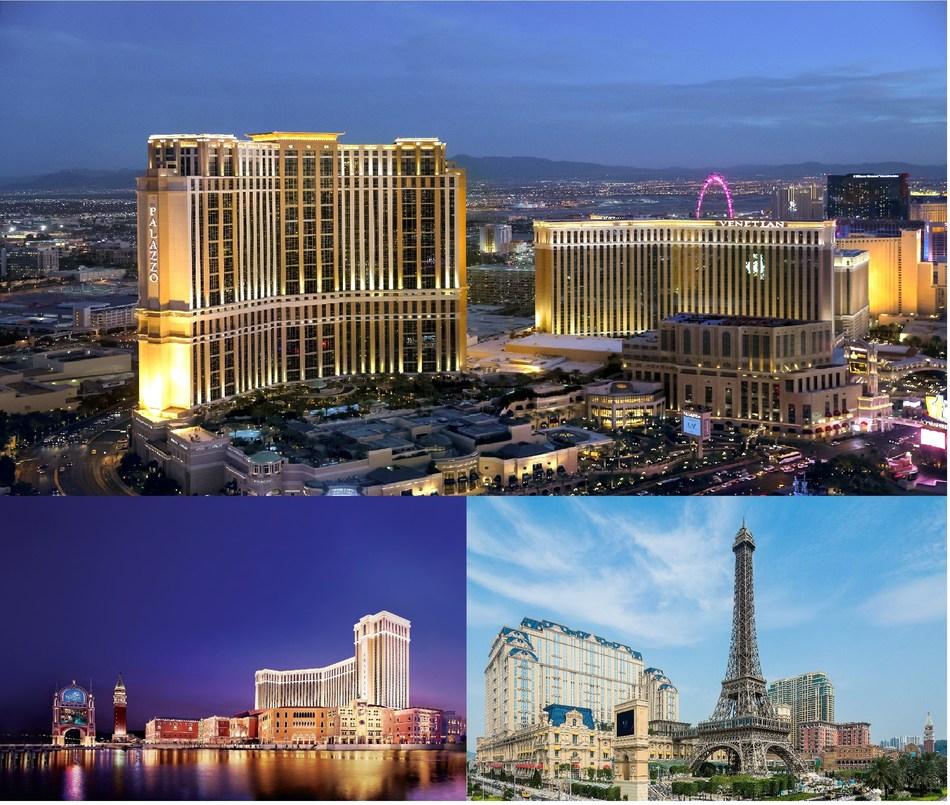 Top: The Venetian Resort Las Vegas, Bottom Left: The Venetian Macao, Bottom Right: The Parisian Macao