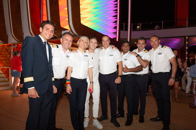 Olympic medalist and Pride Party at Sea Grand Marshal Adam Rippon celebrating Pride Month with Celebrity Cruises and crew members of the new Celebrity Edge in Ibiza, Spain.
