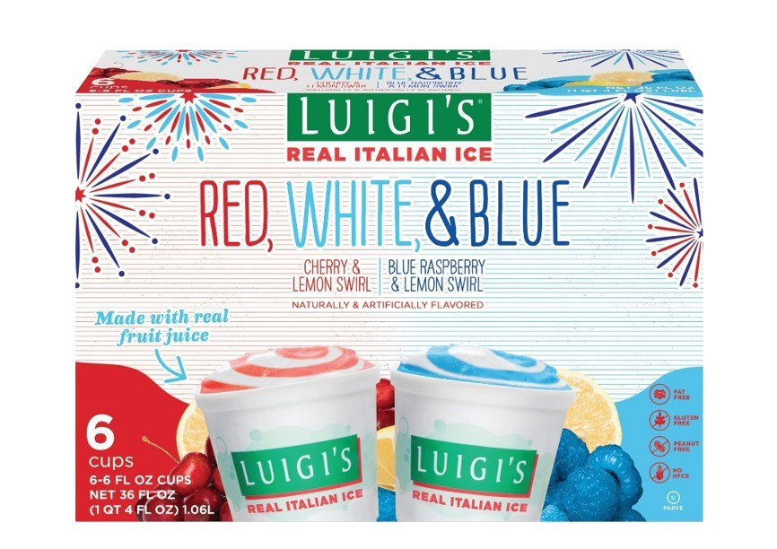 LUIGI'S Real Italian Ice Red, White and Blue